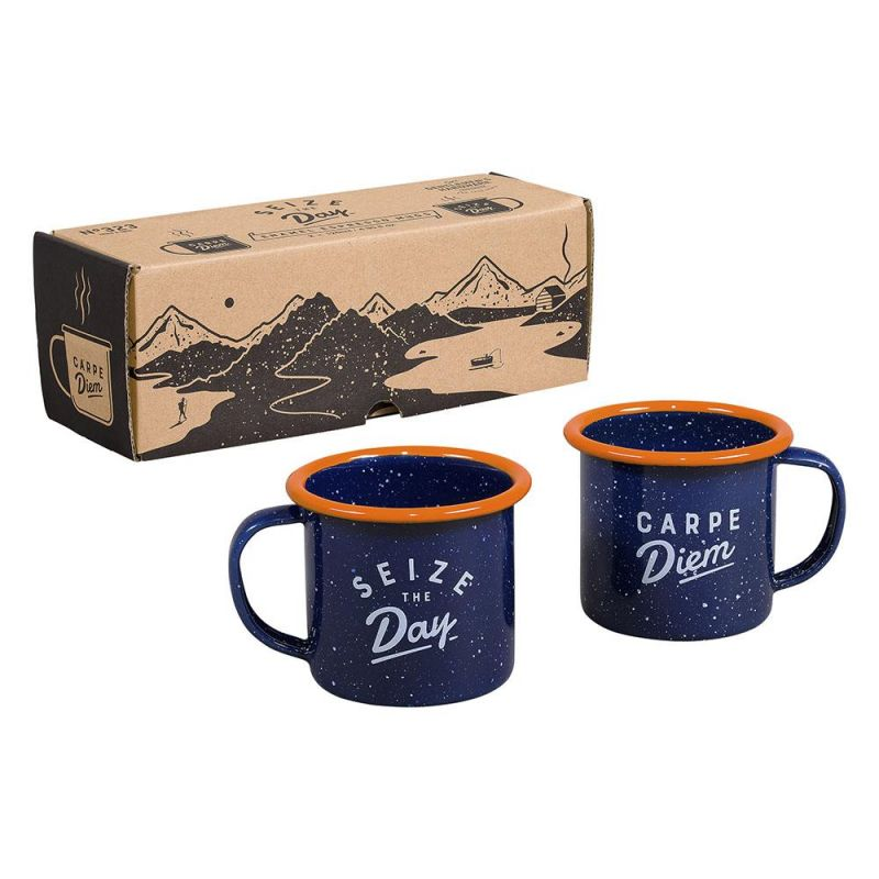 Navy Enamel Set of 2 Espresso
